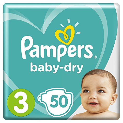Pampers - Baby Dry - Couches Taille 3 (5-9 kg) - Pack Géant (x50 couches)