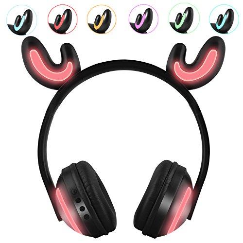 Kinder-Kopfhörer, mit LED-Beleuchtung, 7 Blinkende Lichter, Geweihform, kabellos, Bluetooth-Kopfhörer, Geschenk für Kinder, kompatibel für iPhone, iPad, Android Phone, Computer