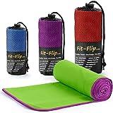 Fit-Flip Microfaser Handtuch - Premium Selektion -100x200-green-purple