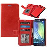 Samsung Galaxy A7 Cover, DMG Premium Leather Magnetic Wallet Case with Detachable Back Cover Case for Samsung Galaxy A7 (Red)