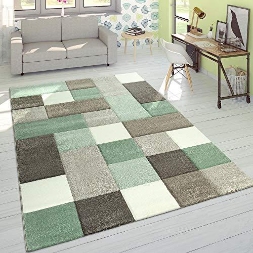 Paco Home Alfombra Diseño Moderna Perfil Contorneado Colores Pastel Cuadros Beige Verde, tamaño:80x150...