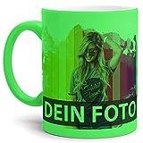 Tasse selbst individuell Gestalten/Personalisierbar mit eigenem Foto Bedrucken/Fototasse / Motivtasse/Werbetasse / Firmentasse mit Logo/Neon - Grün - Matt