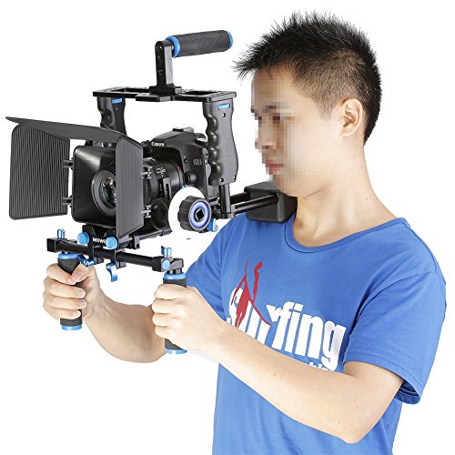 Neewer® Aluminum-Kamera Video-Käfig Set Film Making-System für Canon 5D Mark II / 5D Mark III / 700D 650D 600D 550D 500D 450D, Nikon D7200 D7100 D7000 D5200 D5100 D5000 D3300 D3200, Pentax K7 K5 K3; Sony A850, A700, A550 , A450, A77, Olympus E-P3, E-P5, E-PL3 und andere SLR DSLR Kamera Professionell Fotografie mit Universal Hot Shoe und 1/4