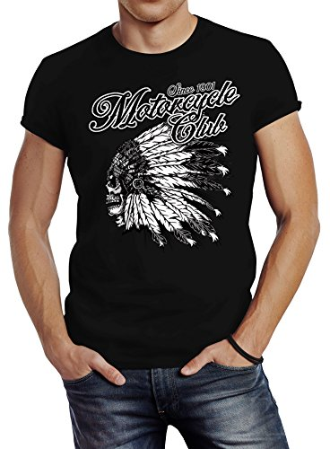 Neverless Herren T-Shirt Indianer Totenkopf Indian Skull Biker Motorrad Slim Fit Schwarz M - Indian Skull T-shirt