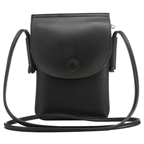 Sasairy Donna Ragazze 14x20.5cm Elegante Borsa a Tracolla Mini Borse a Spalla PU Portafoglio Borsa per Telefono Nero