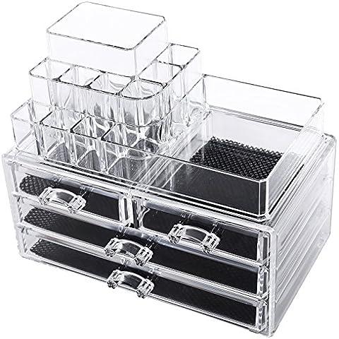 Songmics Cosmetic Organizer Scatola Organizzatore Makeup Acrilico Cassettiera Trasparente 24×14×19 cm JKA001