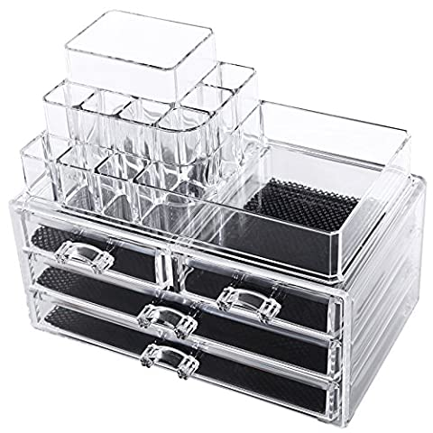 Songmics 2 en 1 Organisateur Maquillage 4 Tiroirs acrylique transparent JKA001