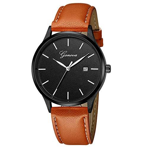 Deloito Herren Mode Edelstahl Fall Uhren Lederband Sportuhren Quarz Analog Armbanduhr (E)