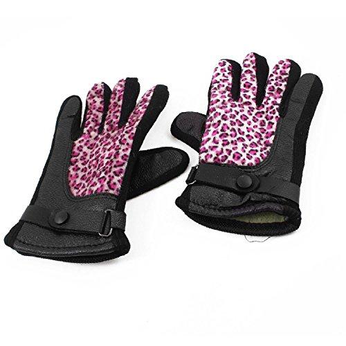 DealMux Lady Kunstleder Baumwollmischungen Leopard-Druck-volle Finger-Handschuhe Pair (Leopard-druck Bettwäsche-set)