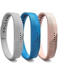 Bandas Para Fitbit Flex 2, de repuesto suave banda de silicona ajustable correa de accesorios de la pulsera con hebilla de metal para Fitbit Flex 2corazón tasa y Fitness muñeca banda, color sky blue+Khaki+gray