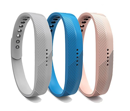 Bands für Fitbit Flex 2, Ersatz Weiches Silikon Armband verstellbar Zubehör Band Gurt mit Metall-Schnalle Schließe für Fitbit Flex 2Herzfrequenz und Fitness Handgelenk Band, sky blue+Khaki+gray (Austauschbare Uhrenarmbänder)