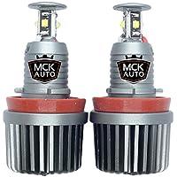 MCK Auto Bombillas de luces de posición Ojos de Angel LED CREE H8 80 W E82 E87E92E60E61E63E89X6BC2R color blanco intenso