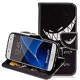 Hülle für Samsung Galaxy S7 Handyhülle Leder,Samsung Galaxy S7 Schutzhülle Leder Hülle,Slynmax Leder Hülle Schutzhülle Flip Tasche Handyhülle Brieftasche Wallet Hülle im Bookstyle Klapphülle mit Standfunktion für Samsung Galaxy S7,Fass mein Handy nicht an,Grins