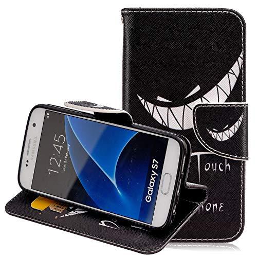Hülle für Samsung Galaxy S7 Handyhülle Leder,Samsung Galaxy S7 Schutzhülle Leder Hülle,Slynmax Leder Hülle Schutzhülle Flip Tasche Handyhülle Brieftasche Wallet Hülle Stand für Samsung Galaxy S7,Grins