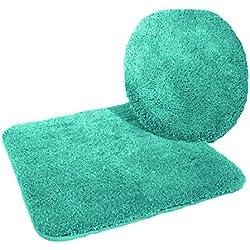 Kinzler J-10053/27 Mikrofaser Bademattenset 2-teilig = WC-Deckelbezug 47x50 cm + Vorleger ohne Ausschnitt 50x55 cm, smaragdgrün