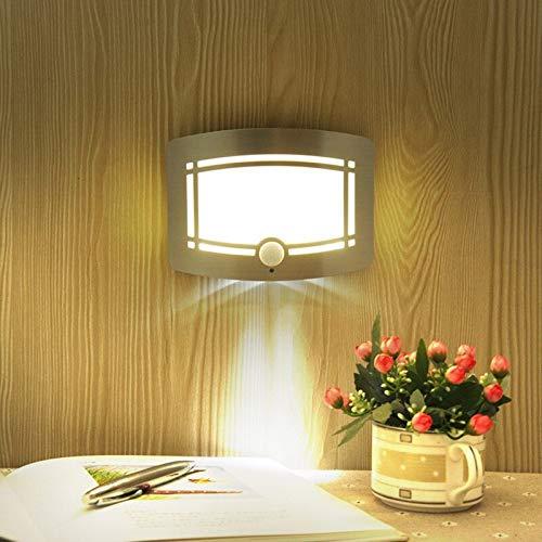 Fengdp Drahtloser Infrarot-Bewegungssensor LED-Nachtlicht Batteriebetriebene Smart-LED-Sensor-Wandleuchte Wandweg Wäsche-Treppen-Sensor-Lampe