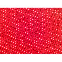 Tela de polialgodón rojo con pequeños puntos de color blanco. 1m x 112cm para costura y acolchado.