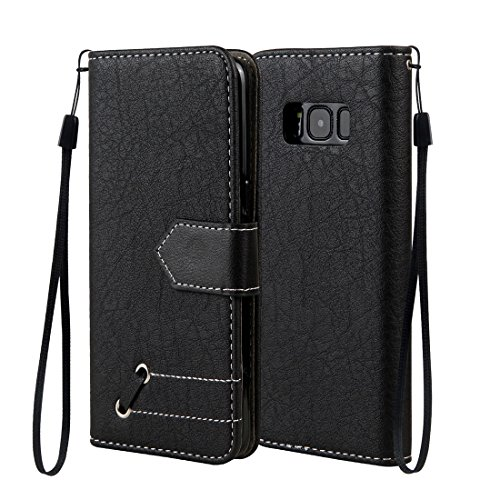 Preisvergleich Produktbild Samsung Galaxy S8 / SM-G950 Case, Chreey Retro Elegant with Metal Design Contrast Color Leather Flip Phone Case / Cover / Skin [Black] + Magnetic Closure Wallet Card Slots and Stand