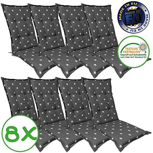 Hochlehner Auflage für Gartenstühle 120x50x8cm - Premium Stuhlauflage mit Komfortschaumkern und Bezug 100{efa5ac7602ffe2bd032186ae4a2fbaa43248e2c48098a42130aecc11c2327c6a} Baumwolle - Sitzauflage Made in EU / ÖkoTex100, Design:Stern Anthrazit, Anzahl:8er Set