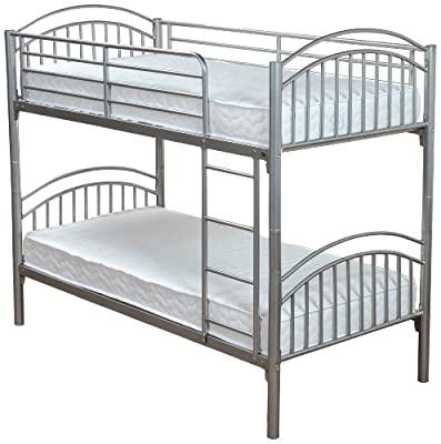 Humza Amani Metal Lynton Bunk with 2 Economy Coil Sprung Mattresses 3FT Single Size, L200 x W98 x H160 cm, 4-pieces, Silver - low-cost UK Bunkbed shop.
