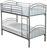 Humza Amani Lynton Metal Bunk with 2 Economy Coil Sprung Mattresses - Single, 4-Piece, Silver