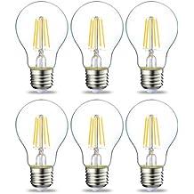 AmazonBasics Lampadina LED E27 a Filamento, 4.3W (equivalenti a 40W), Luce Bianca Calda - Pacco da 6
