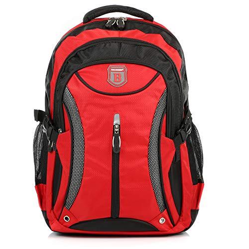 Ergonomisches Daypack City Damen Herren Rucksack Schulrucksack Backpack Tasche für Reise Sport Freizeit (Rot-Schwarz)