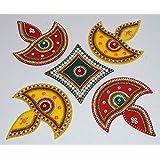 IKreation Acrylic Diya Rangoli (Big) (5 Pcs) (32 Cm X 32 Cm) Red, Green And Yellow