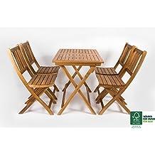 SAM® Set da giardino in legno di acacia, costituito da 5 pezzi, 1 tavolo + 4 sedie pieghevole, mobile da giardino, certificato FSC® 100%