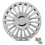 UNIVERSAL – 16 Zoll Radkappen ENZO (Silber) passend für fast alle Fahrzeuge inkl. 4 Ventilkappen in Silber!