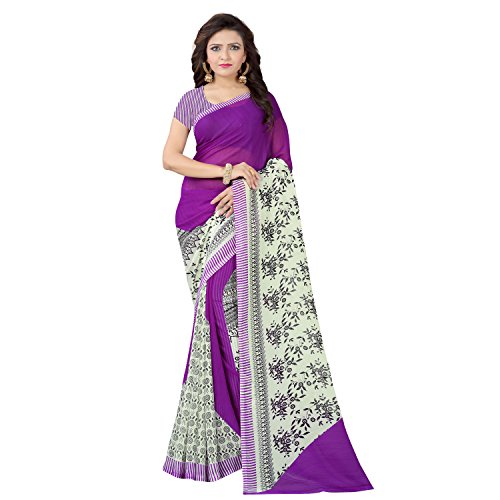 Vimalnath Synthetics Women's Georgette Printed Saree (KITE5_Purple_Free Size)