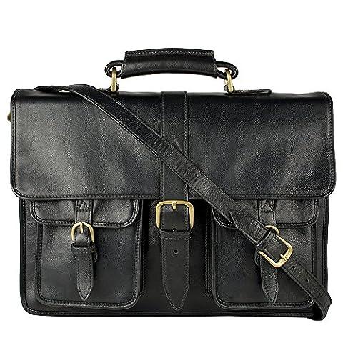 Hidesign Castello Briefcase Bag Top grain Leather Messenger Laptop Shoulder Men Business Handbag Vintage Mens Satchel Cross body Attache Case Genuine New Travel