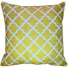 43x 43cm), diseño de patrón geométrico amarillo marroquí, diseño de celosía Quatrefoil–Funda de almohada cojín para sofá, Exterior y cama regalo decoración del hogar