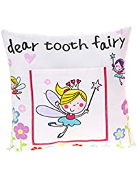 Enfants's Boys/ Girls Tooth Fairy Money Pillow Cushion avec Note/ Letter Pocket -Blanc