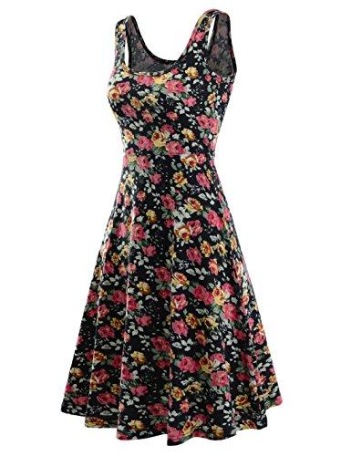 NEARKIN Damen Kleid, gemustert Gr. Large, NKNKWMD734-444BLACK (Kleid Tank Silk)