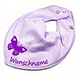HALSTUCH SCHMETTERLING mit Namen oder Text personalisiert flieder für Baby oder Kind