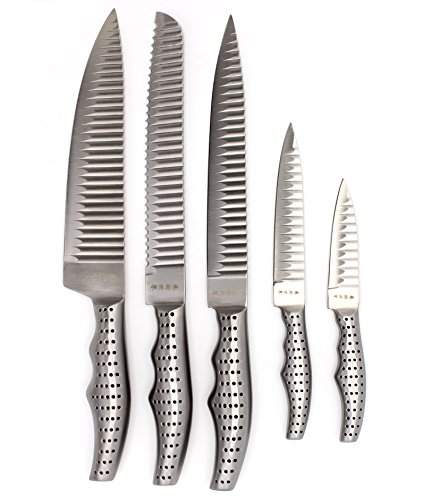 Messer Küchenmesser Kochmesser Messerset 5-teilig mit Spezialklingen, Klinge und Griff in einem Stück aus Edelstahl Hygienisch und Scharf - Chefmesser, Kochmesser, Brotmesser, Allzweckmesser