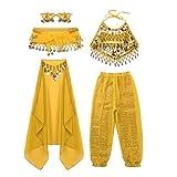 iiniim Conjunto de Traje Danza del Vientre para Niña Top + Cinturón + Pantalones + Pulseras + Mantilla con Lentejuelas Ropa de Baile India Disfraz Carnaval Belly Dance Amarillo 8-10 Años