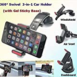 ICEBERG MAKERS.IN 3-in-1 Car Holder Long Arm Car Phone Mount,Windshield Dashboard Air Vent Holder with 360 Degree Rotation for 3.5-5.5 inches Cell Phone Devices in Car