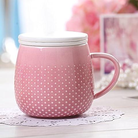 DZXYA Ensemble de 4 tasses à café tasse en céramique créative couverture minimaliste rose ,Bureau