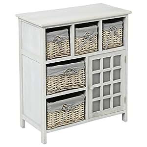 meuble en bois 5 tiroirs paniers en osier avec housses amovibles 1 porte cuisine. Black Bedroom Furniture Sets. Home Design Ideas