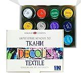 Acryl Textilfarbe Hochwertig - Zur Auswahl: 6 oder 12 Farben je 20 ml - Stofffarben waschfest - Nevskaya Palitra (12er Set)