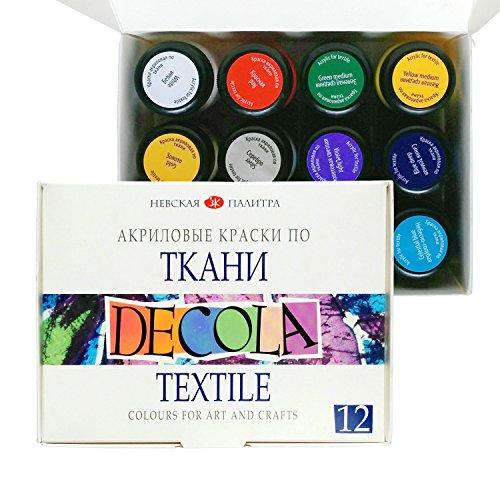 Acryl Textilfarbe Hochwertig - Zur Auswahl: 6 oder 12 Farben je 20 ml - Stofffarben waschfest - Nevskaya Palitra (12er Set) Test