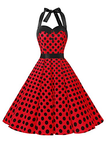 Dressystar, vestito a fiori da cocktail party con fascia in vita, stile retrò/rockabilly anni '50 - '60 red black dot x-small