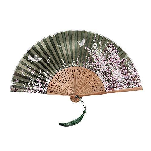 HDUFGJ Faltfächer Handheld Japanischer Stil Bambus Faltfächer Blume Gedruckt Fans Handheld Folded für Hochzeitsgeschenk Party Favors (Kirschblüten-Muster)
