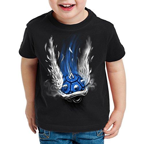 style3 Blauer Panzer T-Shirt für Kinder Kart Videospiel Konsole Mario, Farbe:Schwarz, Größe:128
