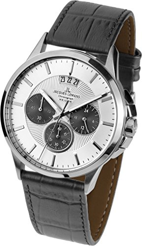 Jacques Lemans Herren Multi Zifferblatt Quarz Uhr mit Leder Armband 1-1542L