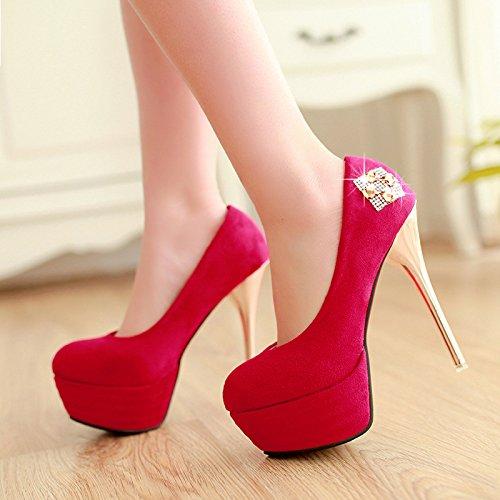 YCMDM Nouveau Chaussures à talon Chaussures simples Femmes Bleu Rouge Noir Taille 32 33 34 35 36 37 38 39 40 41 42 43 red