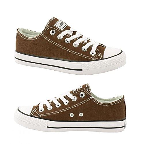 Elara Unisex Sneaker | Bequeme Sportschuhe für Herren und Damen | Low top Turnschuh Textil Schuhe 36-46 Braun