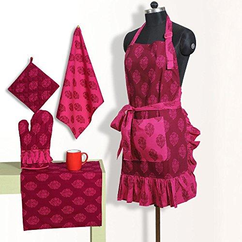Grembiule set di modellato con cintura di cotone chef con presina, guanti mezzi del forno & tovaglioli - perfect home cucina regalo o regalo bridal shower